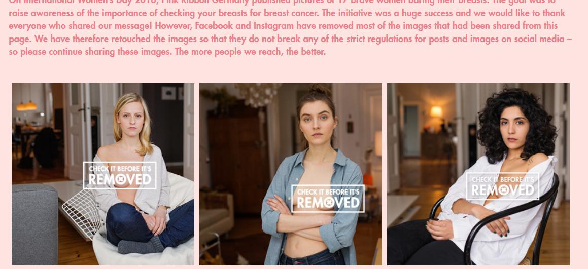 Ilustracja tekstru na temat kampani check it before it is removed. Akcja w kreatywny sposób wykorzystuje właściwości platformy Facebook w celu edukacji na temat raka piersi.
